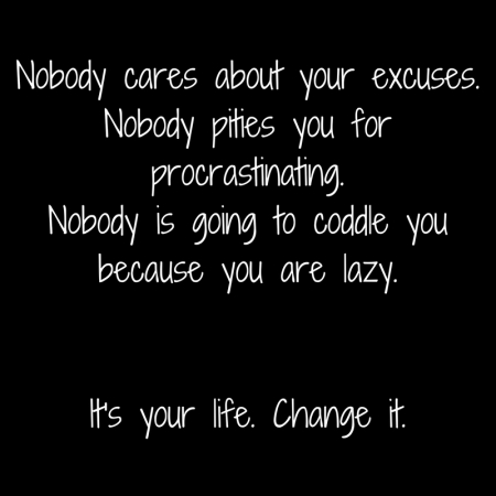 Nobody cares about your excuses.Nobody pities you for procrastinating.Nobody is going to coddle you because you are lazy.It's your life. Change it..jpg