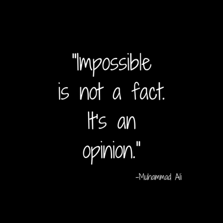 _Impossibleis not a fact.It's anopinion._