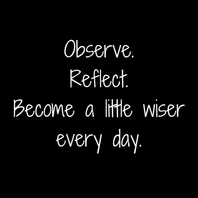 Observe.Reflect.Become a little wiserevery day.