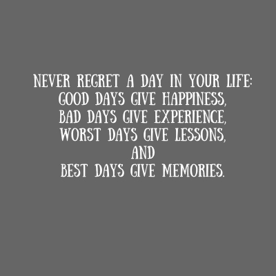 Never regret a day in your life-good days give happiness,bad days give experience,worst days give lessons,andbest days give memories.