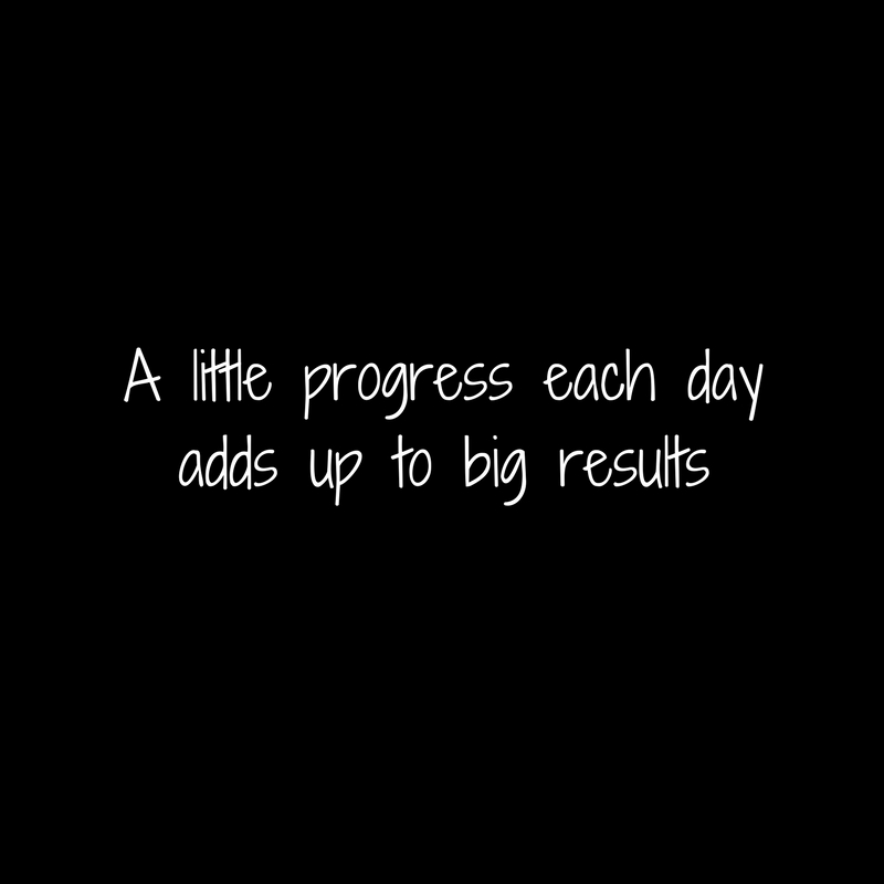 A little progress each dayadds up to big results