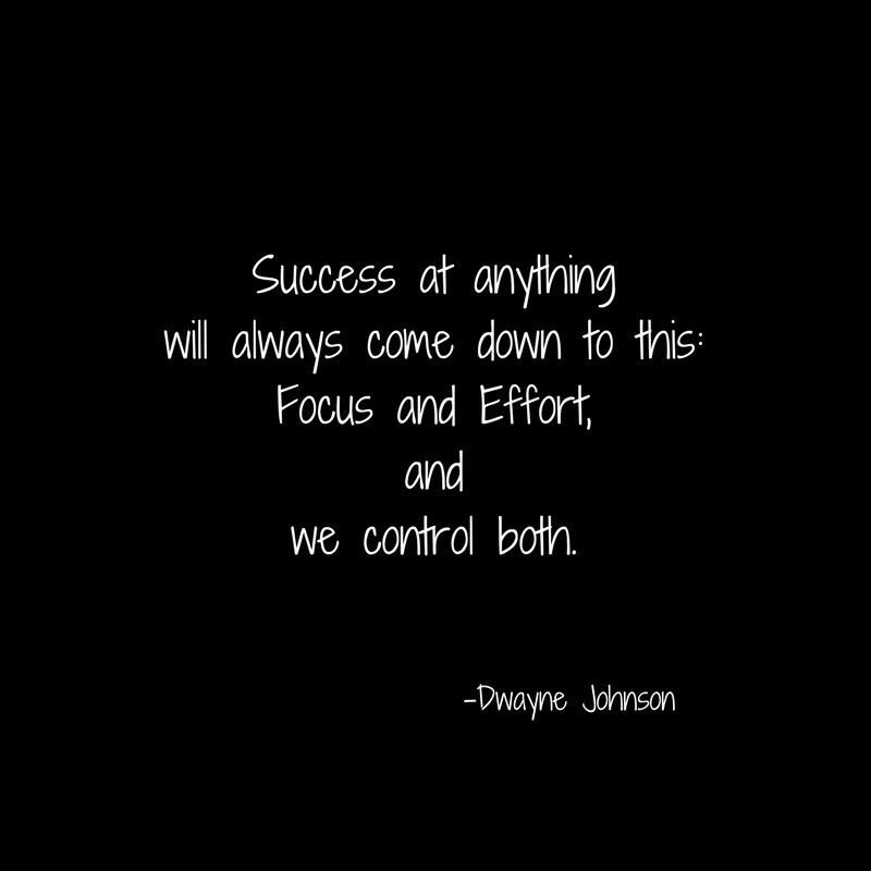 Success at anythingwill always come down to this-Focus and Effort,andwe control both.