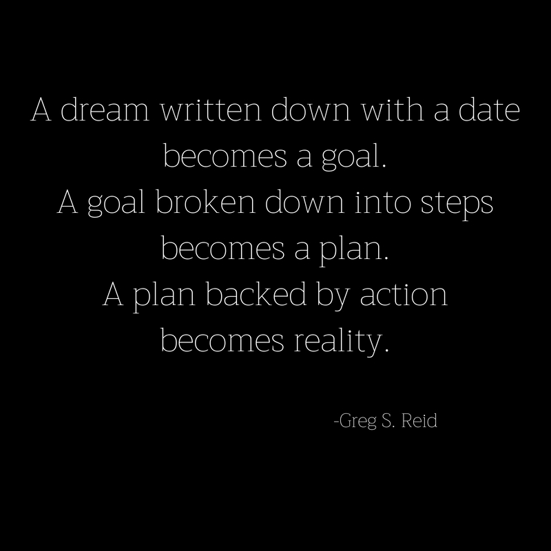 A dream written down with a datebecomes a goal.A goal broken down into stepsbecomes a plan.A plan backed by actionbecomes reality.