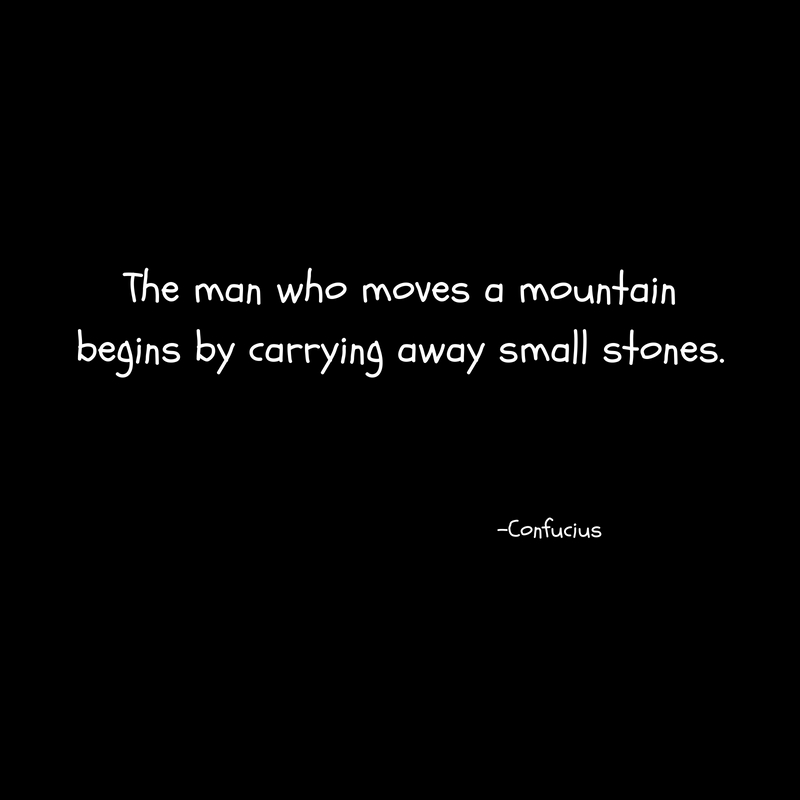 The man who moves a mountainbegins by carrying away small stones.